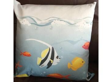 Blue Swimming Fish Throw Pillow