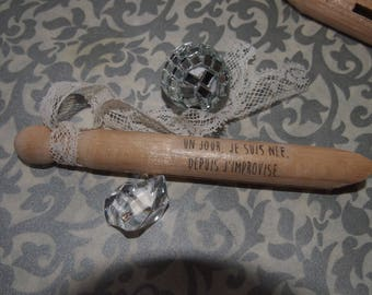 "Twelve ""message"" wooden clothespins"