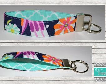 Floral/Navy/Orange/Mint/Purple, Keychain, Key Fob, Wristlet Keychain, Wristlet Key Fob