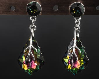 Vitrail light baroque swarovski crystal and 925 sterling silver earrings
