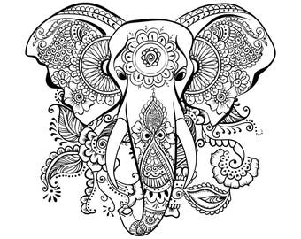 Ethnic Elephant SVG Mandala Elephant SVG Elephant head SVG Zentangle Elephant svg Cut table Design svg dxf eps png