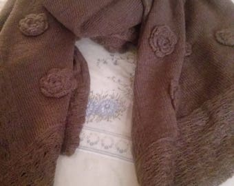 Cotton scarf and Brown angora