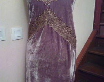 Taupe adjustable velvet straps dress