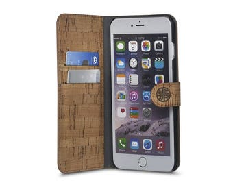 Cork Leather Wallet Folio for iPhone 6/6s and 6 Plus - Rome Cork Wood iPhone Folio by Reveal - Eco Friendly & Sustainable Design