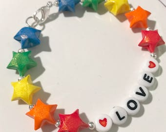 Origami Lucky Stars Rainbow Love Bracelet (READY TO SHIP)