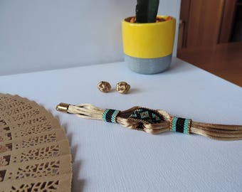 Fabric bracelet Boho chic and knot earrings