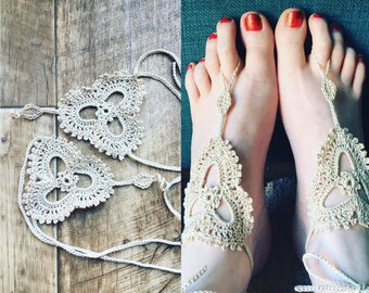 Barefoot sandals, Crochet barefoot sandals, lace shoes Made to Order