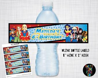 DC Superhero Girls Drink Bottle Labels Water Bottle Wrap  Birthday Party Supergirl  Wonder Woman Harley Quinn Digital File