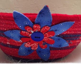 FabricPottery-Red, White and Blue Bowl with flower