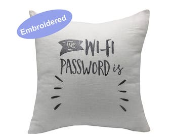 Pillow Covers Embroidered Wifi Password, home decor, engagement present, housewarming gift, cushion cover, throw pillow Guest room decor