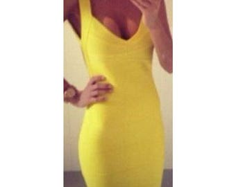 Yellow Bandage dress Online