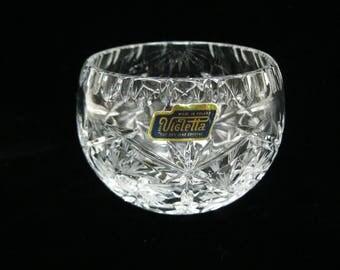 Clear Hand Cut Lead Crystal Glass Bowl Dish Vigletta Poland