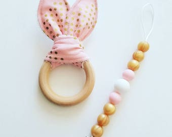 Paci Clip with crinkle Teether