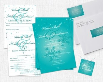 12 Holiday Party Invite Set - Style Snow