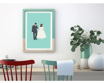 Customised couples portrait, simplistic and modern, downloadable print.