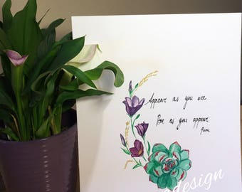 Succulent and floral design with Rumi quote
