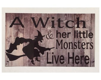 Witch & Monsters Live Here Pagan Sign Halloween Wall Plaque Hanging Tin Broom Wicked Door