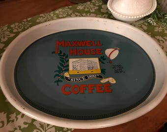 Maxwell House Serving Tray / Metal / Vintage / Coffee / Blue /