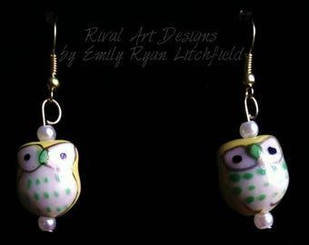 Owl Drop Gold Hook Earrings