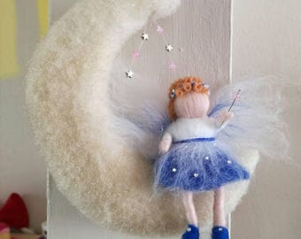 Lovingly hand-crafted needle felt wall hanging for nursery or  childs room