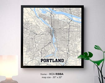 Portland Oregon Map Print, Portland Square Map Poster, Portland Wall Art, Portland gift, Custom Personalized map