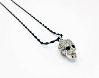 Sterling Silver Black Oxidized Necklace with Skull Pendant