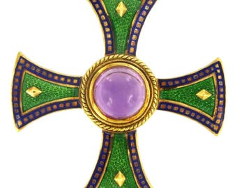 Mavito Enamel Amethyst Maltese Cross