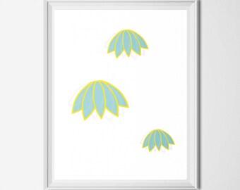 Instant Download Falling Flowers, Digital download flowers, nursery art, school classroom art, downloadable art prints, abstract print