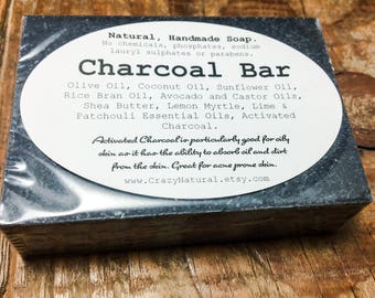 Charcoal Bar.  Handmade Charcoal Soap.  Face Soap. Charcoal. Oily Skin. Acne Prone Skin. Face Wash. Soap. Natural. Handmade.