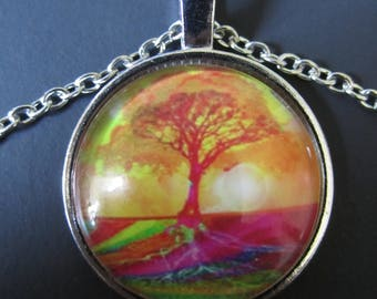 """Colorful Tree of Life Glass Pendant on 9"""" Necklace"""