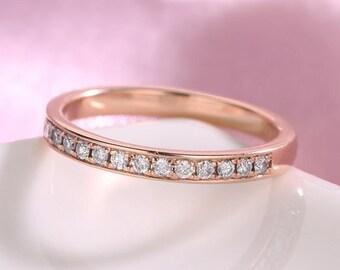 Rose Gold wedding band women diamond wedding ring bridal half eternity band stacking solitaire set dainty matching band promise anniversary