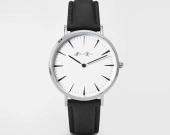 Ladies Watch, Women Leather bracelet, minimalist, gift for her, cheap leather watch, Christmas Watch, Black Leather (Silver/White)