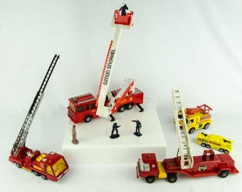 Vintage Fire & Rescue Diecast Lot Matchbox Super Kings K9 Ideal Toys Hot Wheels