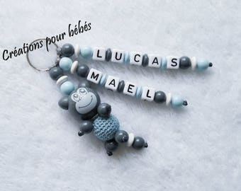 "Keychain 3D ""Monkey"" wood beads and personalized with the names of your choice"