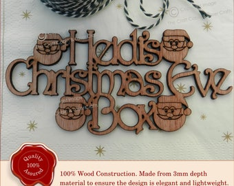 Santa Beautiful Personalised  'Christmas Eve Box' Sign. Wooden Craft Sign, Plaque