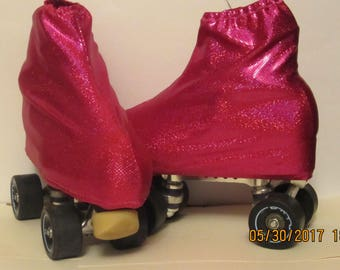 pink glitter skate boot covers