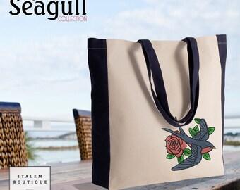 Sac cabas plage et courses bicolore en coton canvas broderie Hirondelle Rose - Two-tone tote bag embroidery Swallow rose