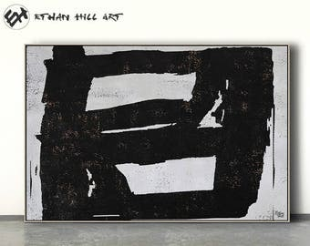 Large abstract painting canvas art, horizontal minimalist painting, minimal art, black and white, FREE shipping - Ethan Hill Art No.H24H