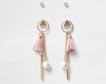 Gold tone mini hoop tassel stud earrings pack