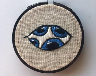 Multiple pupil eyeball embroidery