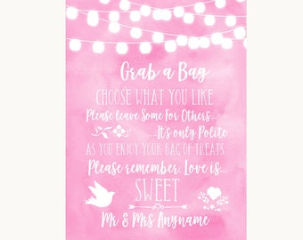 Baby Pink Watercolour Lights Grab A Bag Candy Buffet Cart Sweets Wedding Sign