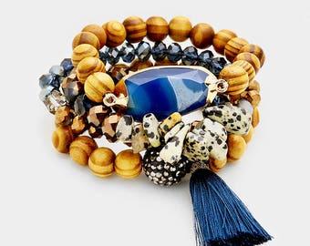 Wood beaded layered stretch Stone and Tassel Bracelet
