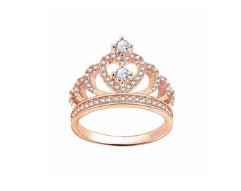 Rose Gold Plated 925 Sterling Silver Princess Crown Tiara Ring