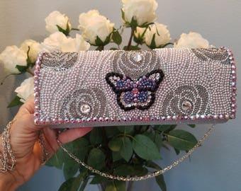 Vintage style crystal butterfly fancy purse/handbag.