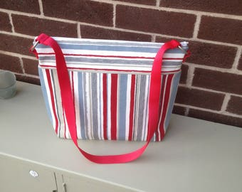 Tote Bag, Beach Bag, Shopping Bag, Nappy Bag, Red, Blue, Neutral Stripes, Zip Fastening, Fully Lined, 100% Cotton