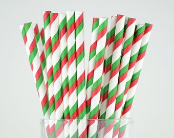 Green/Red/White Striped Paper Straws - Party Decor Supply - Cake Pop Sticks - Party Favor