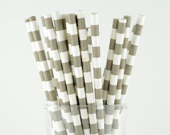 Grey Circle Paper Straws - Mason Jar Straws - Party Decor Supply - Cake Pop Sticks - Party Favor
