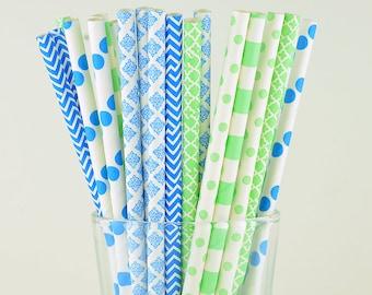 Light Green/ Light Blue Mix Paper Straws - Circle/ Chevron/ Polka Dots - Party Decor Supply - Cake Pop Sticks - Party Favor