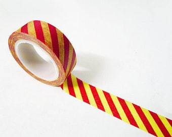 Red and Yellow Stripe Washi Tape 1 Roll - 15mm x 10m - Gift Wrapping - Decorative Tape - Scrapbooking Sticker