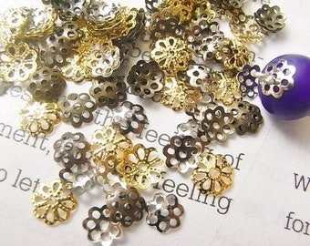 100pcs 6mm/7mm Mixed/Gold/Silver/Antique Bead Cap,Gold filled bead caps,supply jewelry findings,Fancy Flower Antique Bronze Plated Brass